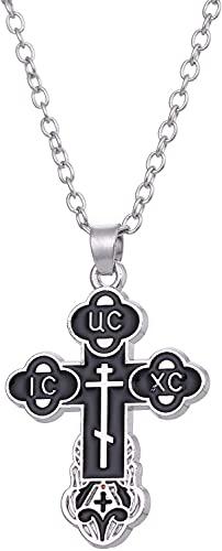 AMOZ Dawapara Religioso Cristiano Ortodoxo Bud Cruz Jesucristo Encanto Colgante Collar Joyería para Mujeres Hombres,Cadena de Eslabones en Tono Plateado Y Negro