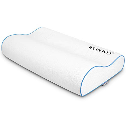 Wonwo Memory Foam Pillow, Ergonomic Contour Cervical Massage Deep Sleep Neck Support Bed Pillow with Removable Washable Cover, CertiPUR-US (Standard Size)