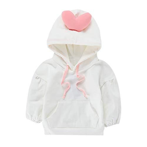 Kobay-baby Kleinkind Baby Kind Mädchen Junge Solide Herz Tasche Mit Kapuze Pullover Top Kind Langarm Einfarbig Lace Up Tasche Liebe Hoodie T-Shirt Top (12M-4Y) (90,2-3 Jahre, Weiß)