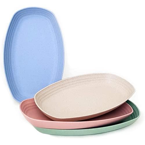 Bubugh Placa de plástico de Paja de Trigo Ligero y Reutilizable. Bandeja elíptica no tóxica, Adecuada para el Medio Ambiente, Adecuada para niños y Adultos