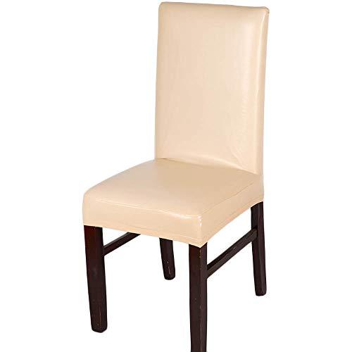Jodimitty Stuhlhussen PU Leder Kunstleder Wasserdicht Stretch Stuhlbezug Dekoration Stuhlüberzug für Universelle Passform (Champagner)