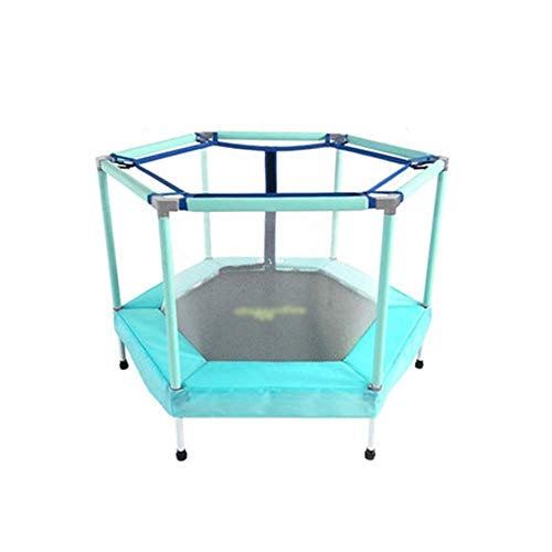 Rebounder 55-inch Children's Indoor Fitness Exercise Trampoline Baby Home Bounce Bed Kids Outdoor Garden Leisure Trampoline with Safety Enclosure Can Accommodate 1-2 Childr Exercise Equipment