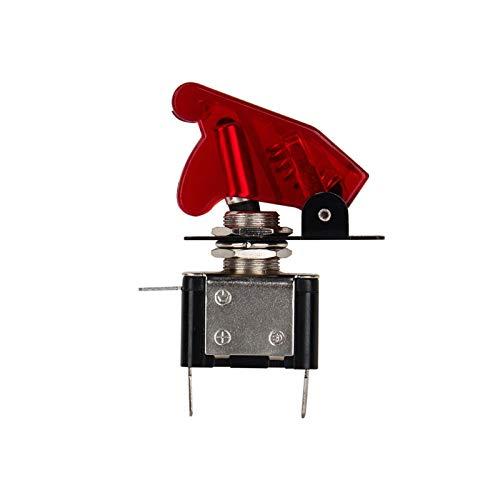 Yctze 12V 20A Interruptor basculante de palanca para coche, SPST Dome Luz antiniebla Interruptor basculante ON/OFF SPST LED Cubierta roja
