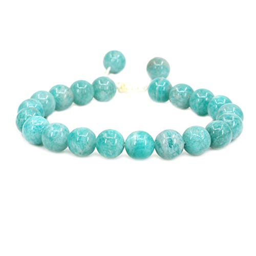 Natural Brazilian Amazonite Gemstone 8mm Round Beads Adjustable Braided Macrame Tassels Chakra Reiki Bracelets 7 Inch Unisex