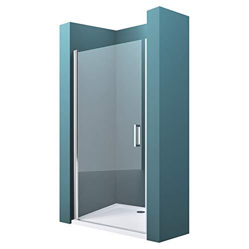 Mai & Mai Mampara de ducha con puerta de ducha giratoria 180 ° 80x195cm en vidrio transparente con mecanismo de elevación y descenso, incluye nano revestimiento, entrada derechaTER24