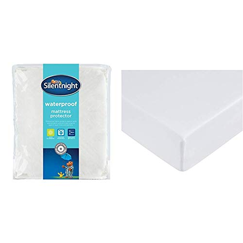 Silentnight Waterproof Mattress Protector Plus, Polyester, White, Double & AmazonBasics Microfibre Fitted Sheet, Double, Bright White