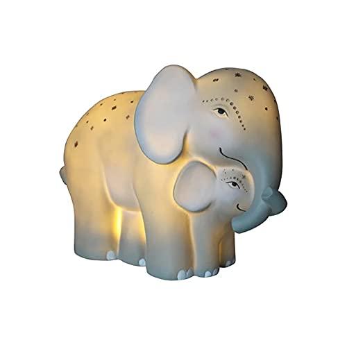 Lámpara de noche LED con cable, diseño de elefante con elefante, para habitación de los niños, lámpara de mesa, 15,5 x 9 x 20 cm