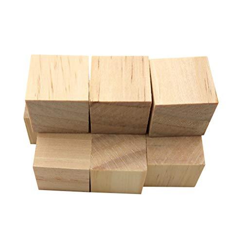 VOSAREA 10 cubos de madera cuadrados de madera artesanales piezas de madera bloques de madera para manualidades