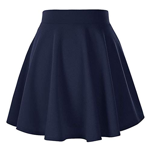 Damen Röcke, VEMOW Frauen Sommer Party Cocktail Hohe Taille Skater Karneval Mini Rock(Y2-Marine, S(Waist:60-70cm))
