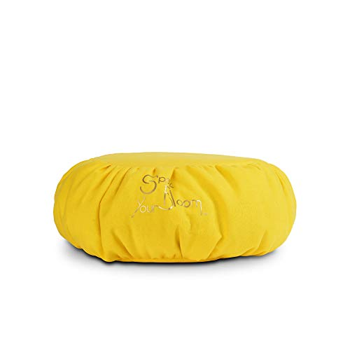 SparkYourBloom Meditationskissen/Yoga-Zafu-Kissen/Sitzsackfüllung 100% Polystyrol-Perlen/Haltungshilfe, maschinenwaschbar - gelb