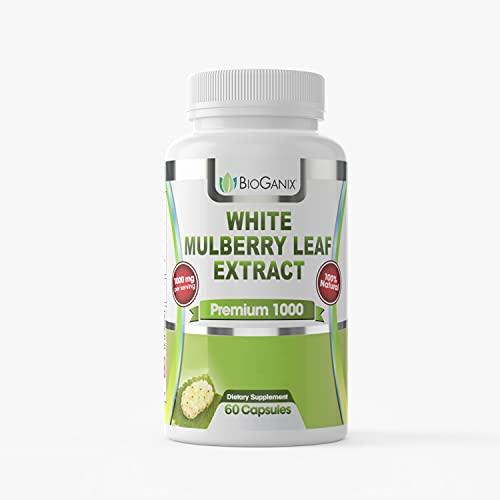 Bioganix Pure White Mulberry Leaf Premium Extract 1000 mg (60 Capsules), 2 Capsules per Serving, 30 Day Supply