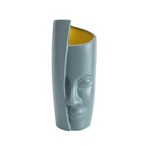 Vaso Nordic Face | Vaso moderno con design a volto umano Vaso con gemma Vaso alto in plastica Vaso forte e durevole per fiori e piante da interno (3 colori)