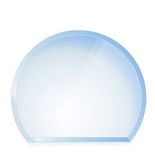 bijon® Funkenschutz-Platte mit Facettenschliff | Glasplatte Kaminofen | Kaminschutz mit ESG Sicherheitsglas | Kamin Glasplatte | Kreisabschnitt 100 x 120 cm | 8mm