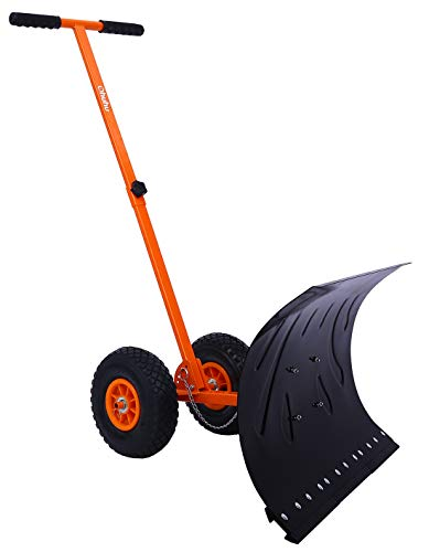 Snow Shovel with Wheels for Driveway Doorway, Ohuhu Heavy Duty Metal Snow Pusher with Adjustable Height & Angle, Rolling Snow Plow for Snow Removal, Wheeled Efficient Snow Shovel with Large Blade Plow