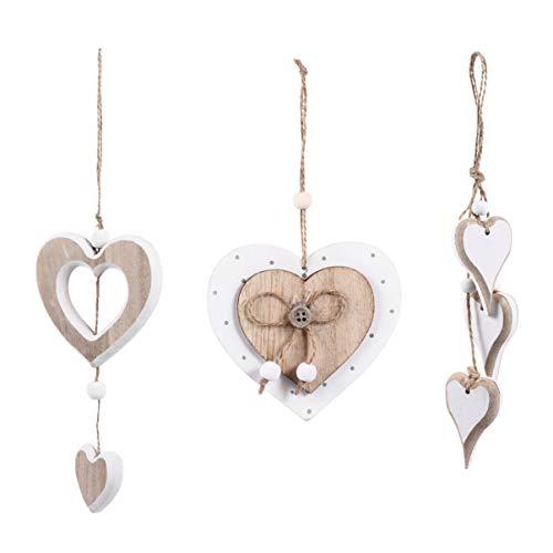 Homoyoyo 3 Piezas Adornos de Corazón de Madera Amor de Navidad Corazón Colgante Colgante Etiquetas de Regalo Puerta de Navidad Decoración de Pared Suministros