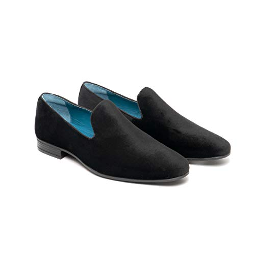 Oswin Hyde Alfie Mens Wedding Evening Party Stylish Soft Velvet Leather Lined Slip On Smoking Slippers Loafers Shoes Size UK 7-12 Black