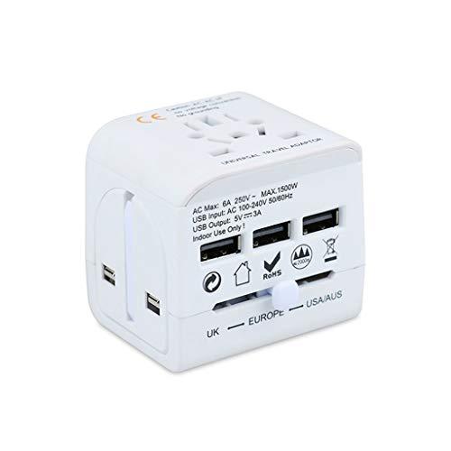 PIAOLING Adaptador de Viajes en Todo el Mundo, 3 Puertos USB, Cargador Internacional Todo en un Adaptador Universal para Nosotros UE UE UK AUS Teléfono Celular de Europa (Color : White)