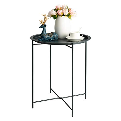 HollyHOME Folding Tray Metal Side Table, Sofa Table Small Round End Tables