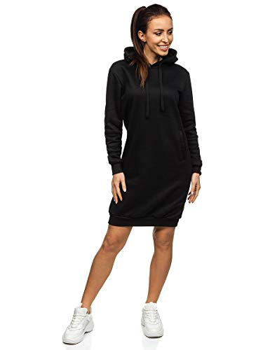 BOLF Damen Sweatkleid Kleider Sweatshirt Longshirt Oversize Hoodie Tunika Sportkleid Kapuzenpullover Baumwollemischung Fitness Sport Basic Einfarbig Uni J.Style YS10005 Schwarz L [A1A]