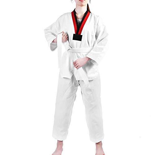 Alomejor Completo da Taekwondo, Maniche Lunghe in Cotone per Taekwondo Uniforme di Taekwondo con Cintura Bianca Costume da Karate per Adulti e Bambini