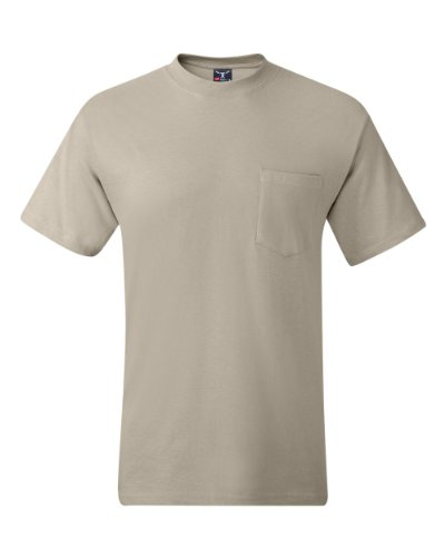 Hanes Men's Beefy-T T-Shirt with Pocket, Sand (L)