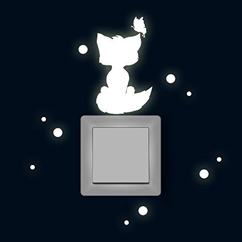 Lichtschaltertattoo Lichtschalteraufkleber Lichtschaltersticker Wandtattoo Wandbild Fuchs mit Schmetterling und Punkten fluoreszierend M1881