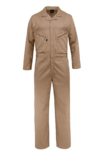 Kolossus Pro-Utility Cotton Blend Long Sleeve Coverall with Zippered Frontal Pockets Khaki