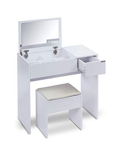 ts-ideen Schminktisch Frisiertisch Frisierkommode Schminkkommode Schlafzimmer Kommode mit aufklappbarem Spiegel, Schublade und gepolstertem Hocker in Weiß Modern