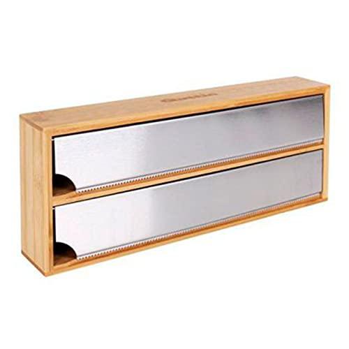 Acan Quttin - Dispensador de Papel de Aluminio para cajón, bambú, 33 x 13 x 5,5 cm. Expendedor...