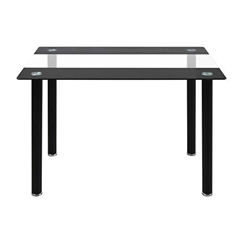 CLIPOP Modern Dining Table Rectangle Black and Clear Tempered Glass Kitchen Table with Black Chrome Legs, 4-6 Seater Dining Table for Kitchen Dining Room and Restaurant Furniture (110 x 70 x 75 CM)