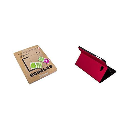 Silver HT - Pack Funda para Samsung Galaxy Tab A de 10.1' (SM-T580 y SM-T585) Rojo + Protector de Pantalla Cristal Templado de fácil instalación sin burbujas. Anti-reflejos, anti-huella y anti-oleos