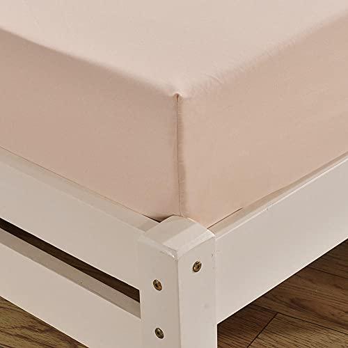 XGguo Protector de colchón - Protector de colchón antialérgico Sábana de Cama cepillada de Color Puro Antideslizante-Beige_198 * 203cm + 40cm_