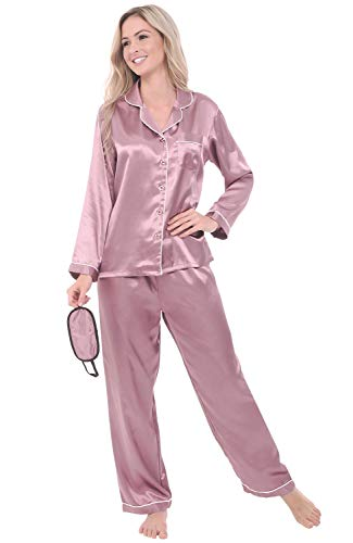 Alexander Del Rossa Women's Button Down Satin Pajama Set with Sleep Mask, Long Silky Pjs, XL Wisteria with Cream Piping (A0750WSPXL)