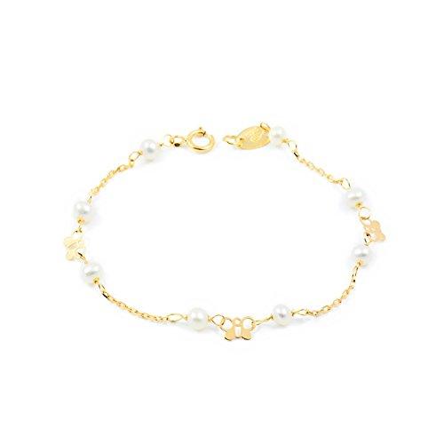 Bracciale perle e farfalla - oro giallo 18k (750)