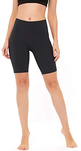 """N-A Women's Yoga Shorts High Waist Workou Running Compression Exercise Shorts Side Pockets 8"""" S Black"""