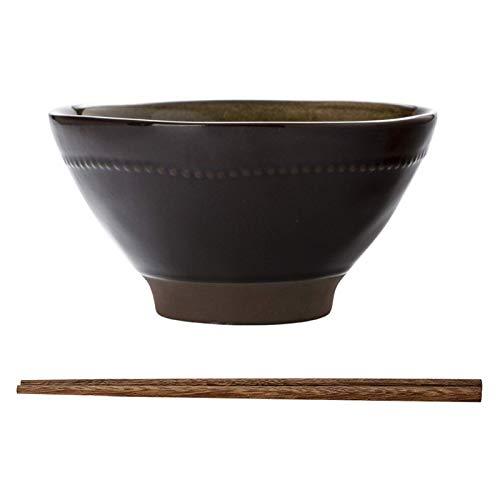 wsetrtg Tazón de Ramen de Estilo japonés tazón de Sopa de cerámica esmaltado Retro para Cereales Ensalada fácil de Limpiar Llevar Palillos Horno de microondas Apto para lavavajillas (Color: ma