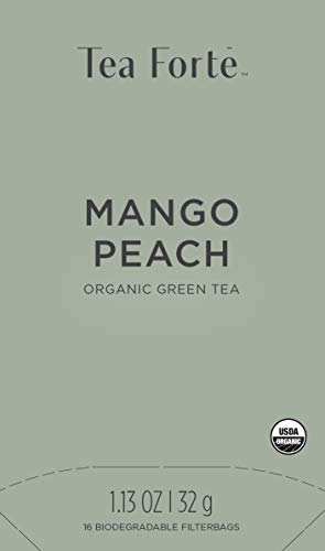 Tea Forte Mango Peach Bio | Caja de Té Verde Mango Melocotón 16 Biodegradable Tea Bags | Eco-compatible |