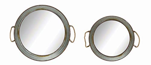 Creative Co-op Round Metal Framed Wall Mirrors with Rope Handles (Set of 2 Sizes)