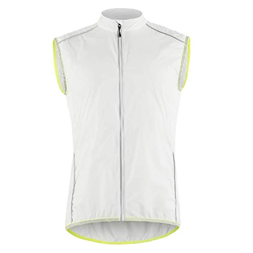 Chaleco de Ciclismo para Mujer, Chalecos de MTB Impermeables a Prueba de Viento, Camiseta de Bicicleta Que Absorbe la Humedad, Camisa de Ciclo sin Mangas de Alta Visibilidad,Blanco,XL
