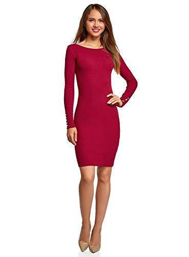 oodji Ultra Damen Enges Kleid mit Perlenverzierung, Rot, DE 32 / EU 34 / XXS