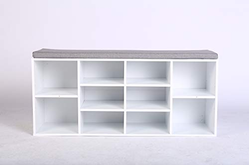 mymai Schuhschrank mit Sitzkissen Schuhbank Schuhregal Sitzbank gepolsterte Sitzbank mit Stauraum 10 Fächer für Flur Eingangsbereich weiß grau HFH05-WEI B104 x T30 x H48 cm