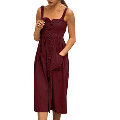 Ulanda-EU Mode Frauen Taschen Kleid Ärmellos Baumwolle Leinen Casual Kleider Damen Lose Bluse Hemd Shirt Retro Kleid Streetwear Freizeitkleid Strandkleider