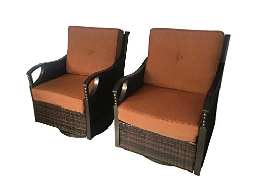 Pebble Lane Living Set of 2 Outdoor Cushion Glider and Rocking and Swivel Aluminum and Wicker Patio Chairs (Seats 2)
