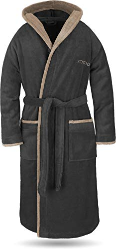normani® Baumwoll Bademantel mit Kapuze in weicher Premium Qualität mit Öko Tex 100 für Damen und Herren Farbe Schwarz/Beige Größe M