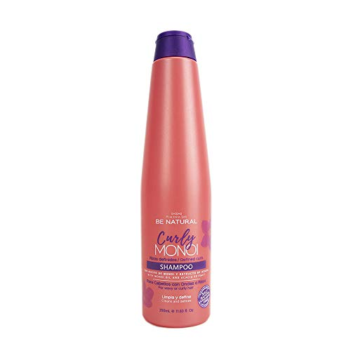 Be Natural Curly Monoi Champú, Rizos Definidos, Aceite Monoi Altamente Hidratante, Blanco, 350 ml
