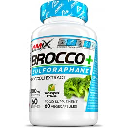 AMIX - Suplemento Alimenticio Brocco + en 60 Cápsulas - Contiene Propiedades Antioxidantes - Ayuda en la Ganancia Muscular - Complemento Alimenticio en Cápsulas Veganas