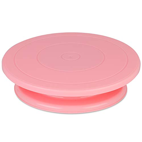 Kootek 11 Inch Rotating Cake Turntable Turns Smoothly Revolving Cake Stand Cake Decorating Kit Display Stand Baking Tools Accessories Supplies for Cookies Cupcake Pink