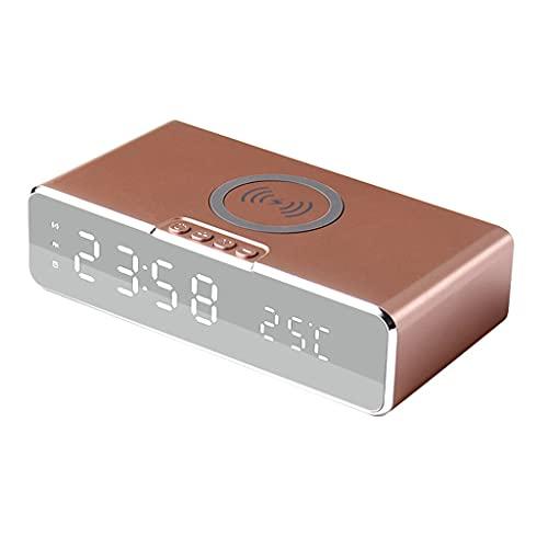 despertador cargador inalámbrico Reloj Despertador Digital LED Compatible para Teléfonos Android y Teléfonos IOS Carga Inalambrica Tiempo de Visualización Temperatura 10W Qi Cargador Inalámbrico para