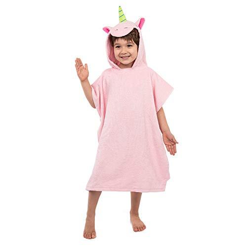 Asciugamani con Cappuccio Poncho da Bagno per Bambini in Cotone con Design 3D Accappatoio Telo da Mare Morbido Caldo e Soffice Nuoto per Ragazze (Unicorno)
