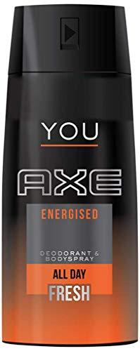 Axe Deodorant voor heren voor de hele dag tegen slechte geurtjes, spray ml, energie, fris, 150 milliliter, (Pack van 3)